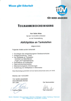 Zertifikat Abfüllplätze Tankstelle